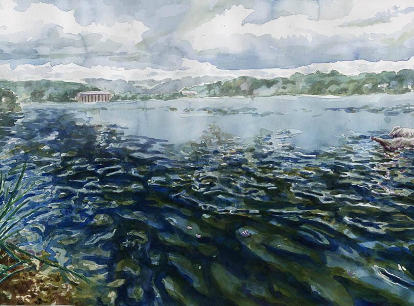 Aquarell Malerei Stausee klingnau zurzibiet