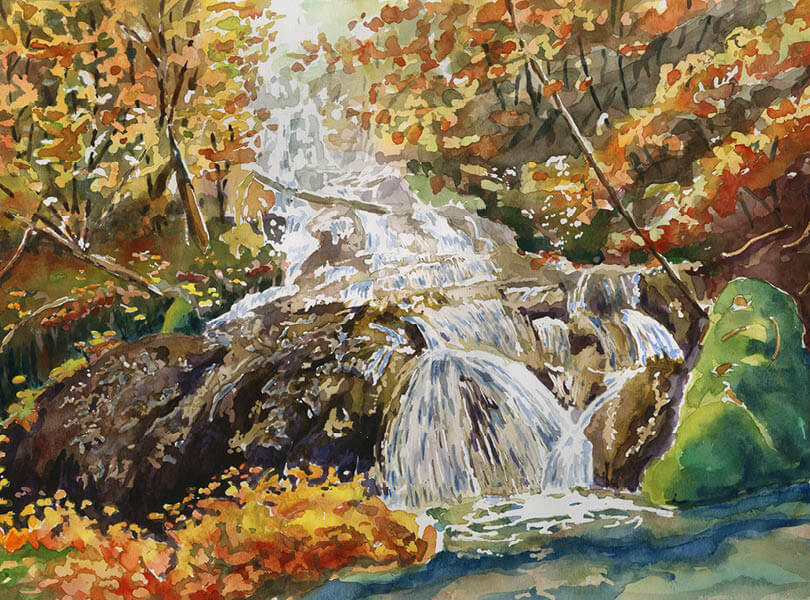 Aquarell Malerei Wasserrfall rekingen zurzibiet