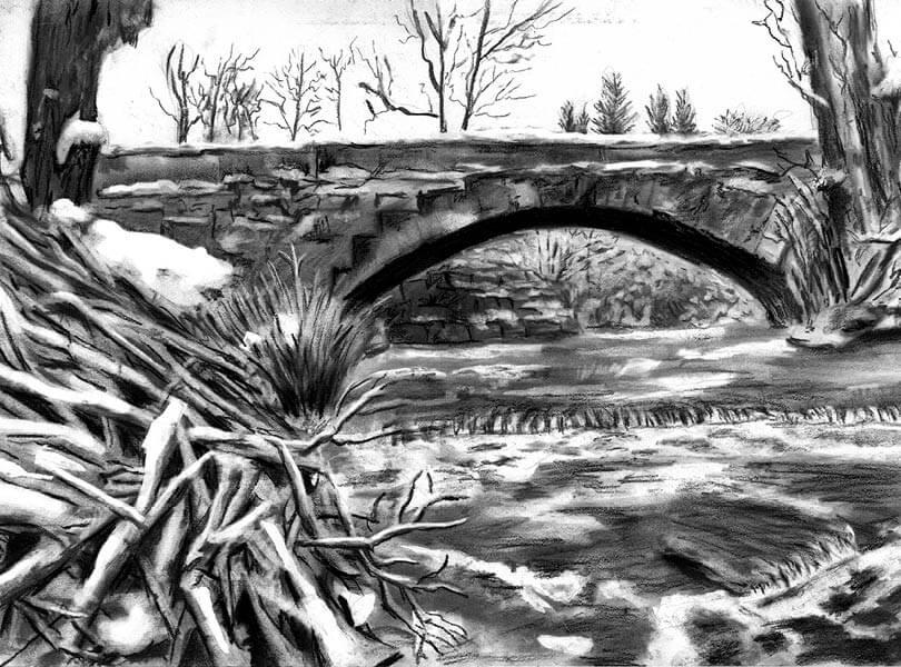 Kohle Zeichnung Brücke Unterendingen mit Surb