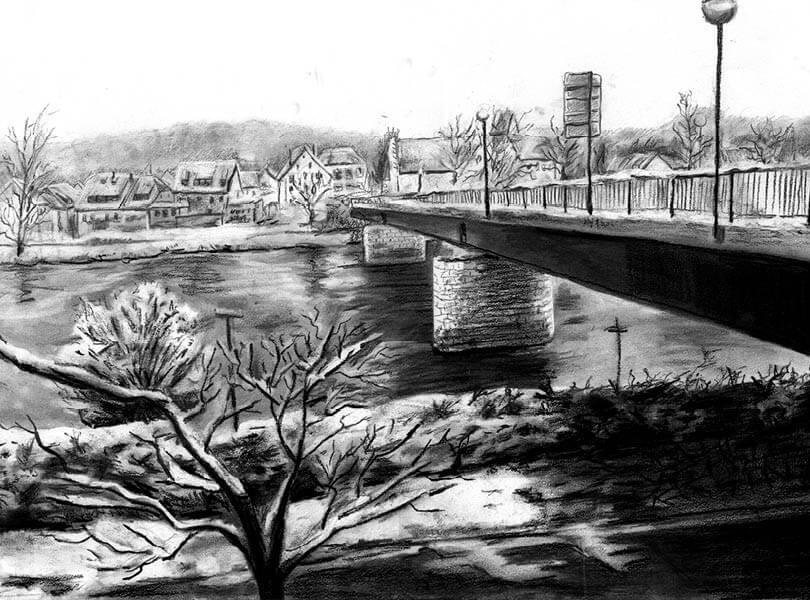 Kohle Zeichnung Brücke Bad Zurzach mit Rhein
