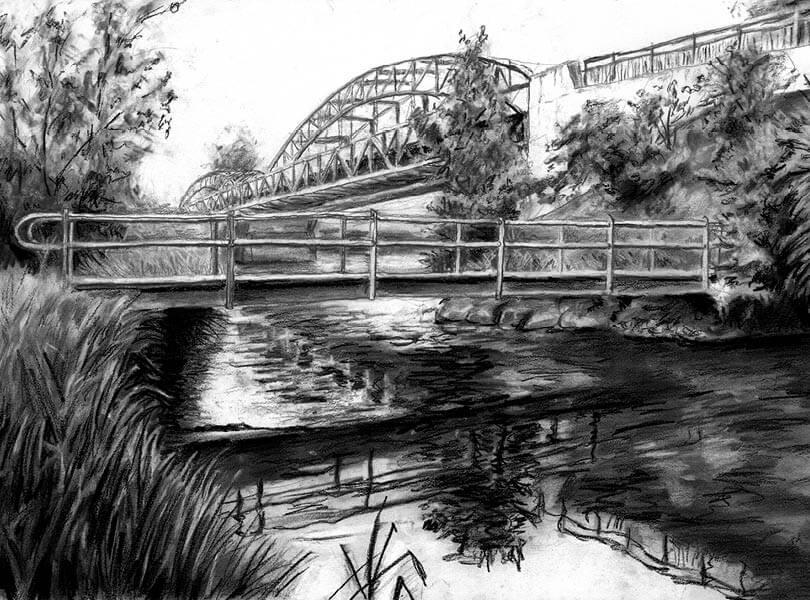 Kohle Zeichnung Brücke Koblenz mit Rhein und Aare