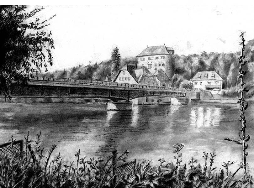 Kohle Zeichnung Brücke Kaiserstuhl mit Rhein