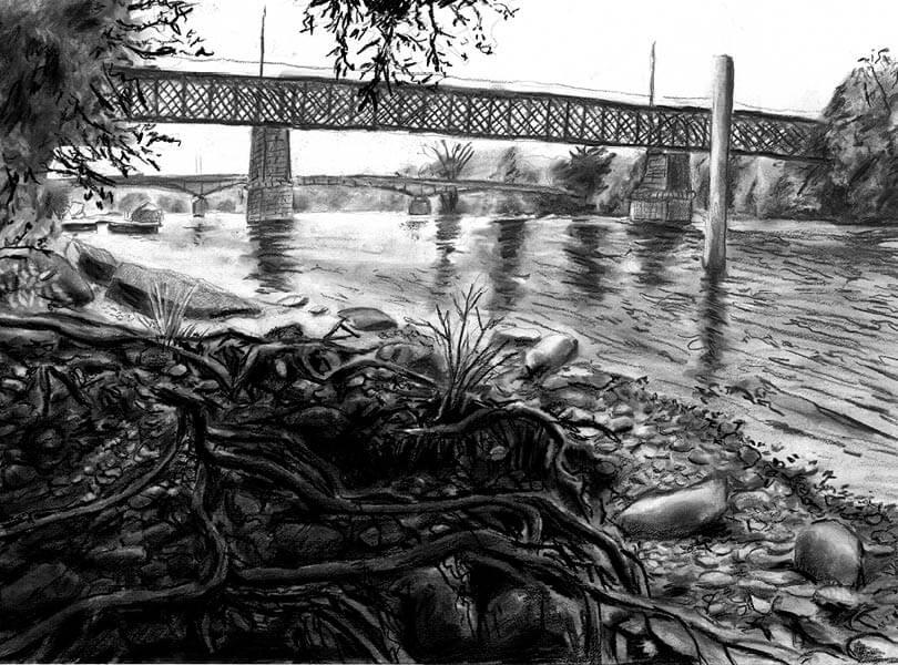 Kohle Zeichnung Eisenbahnbrücke Koblenz mit Rhein