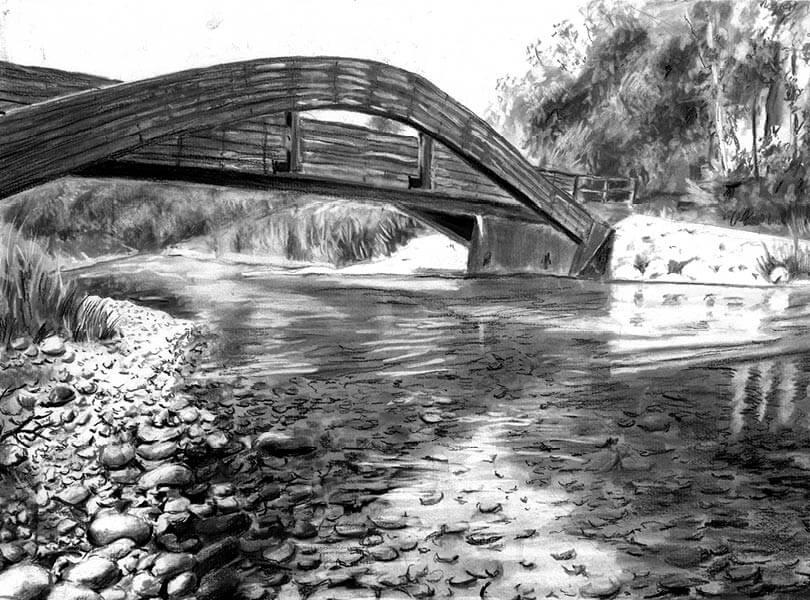 Kohle Zeichnung Holzbrücke Aue Rietheim