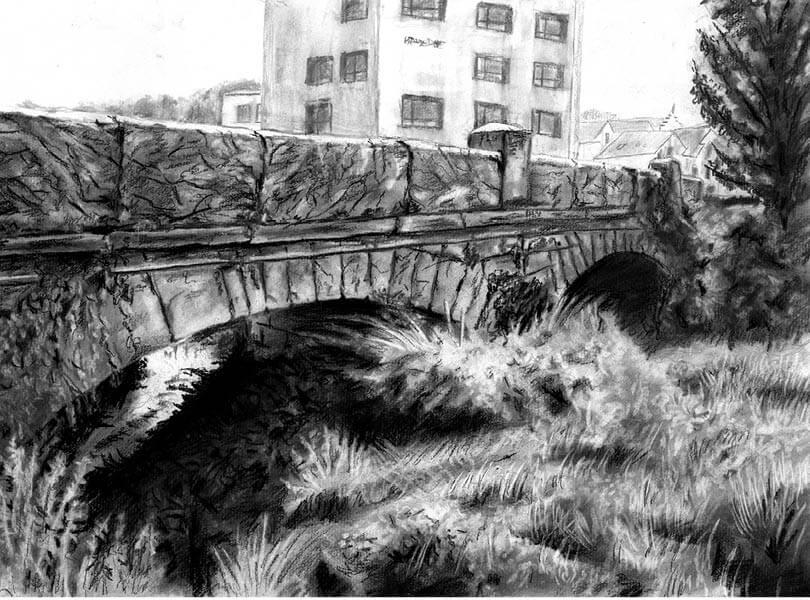 Kohle Zeichnung Brücke Endingen