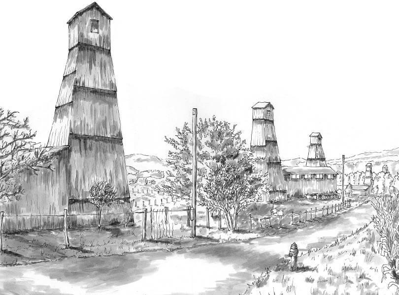 schwarz weiss zeichnung bohrtürme Bad Zurzach