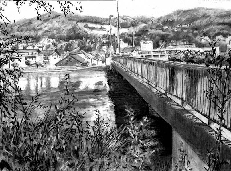 Kohle Zeichnung Brücke Stausee Döttingen