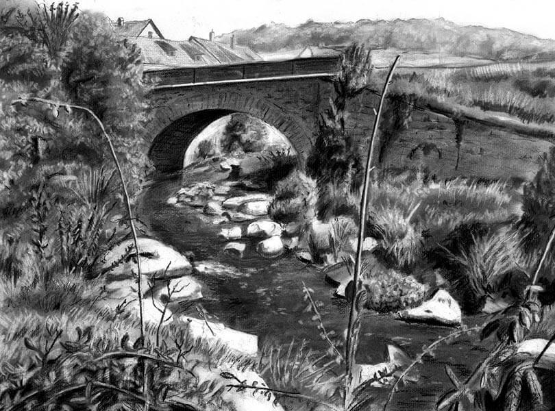 Kohle Zeichnung Brücke Tegerfelden