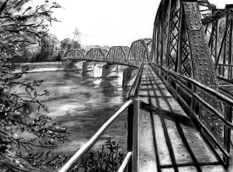 Kohle Zeichnung Eisenbahnbrücke Koblenz