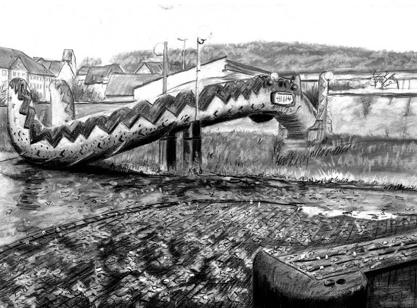 Kohle Zeichnung Schlangenbrücke Klingnau