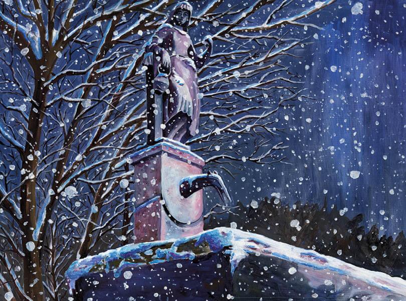 Öl Malerei Koblenz mit Statue Brunnen