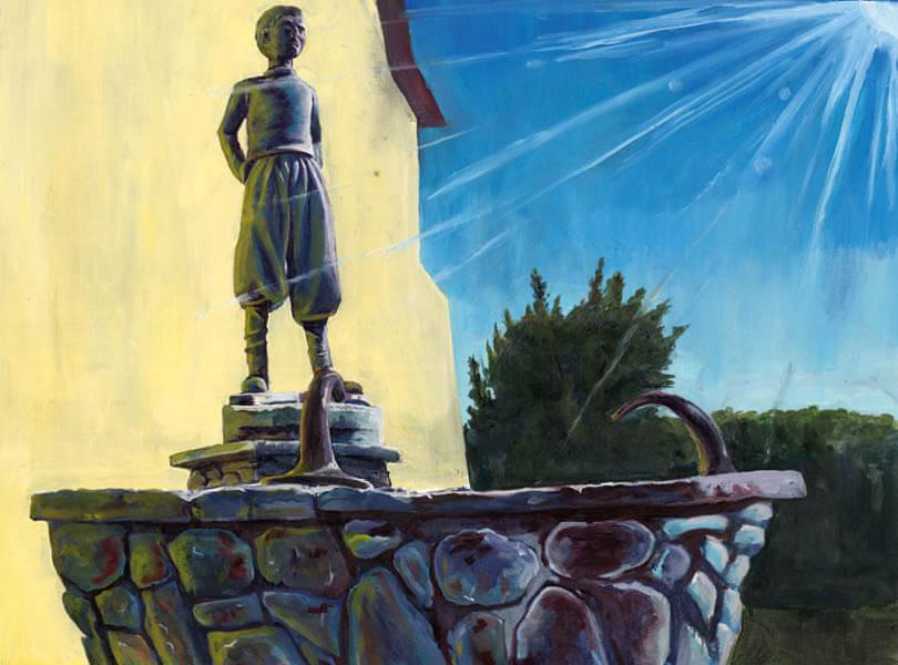 Öl Malerei vom luusbuebebrunne Klingnau mit Statue