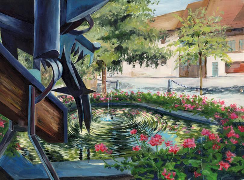 Öl Malerei von Altersheim Döttingen mit Statue Brunnen