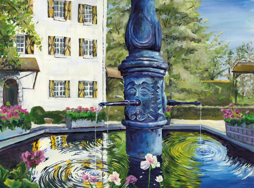 Öl Malerei vom Schloss Böttstein mit Statue Brunnen