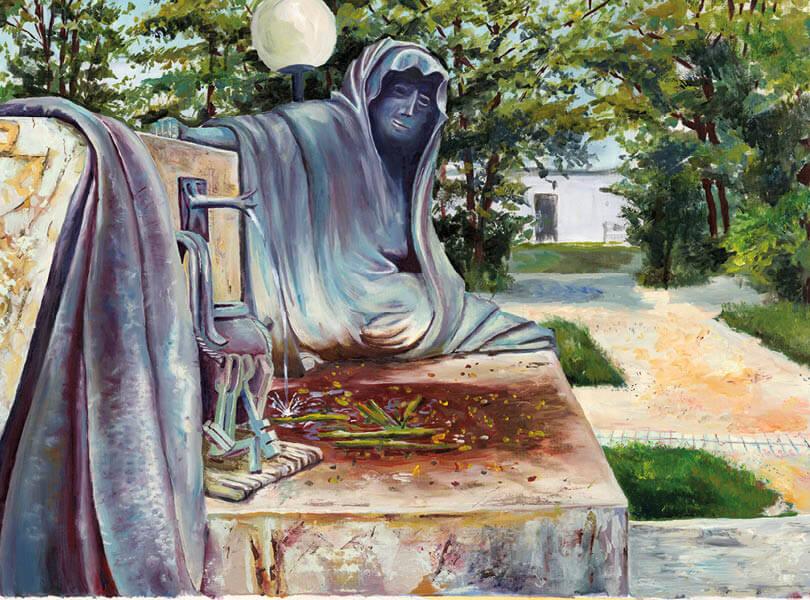 Öl Malerei Bad Zurzach Park Verena Statue