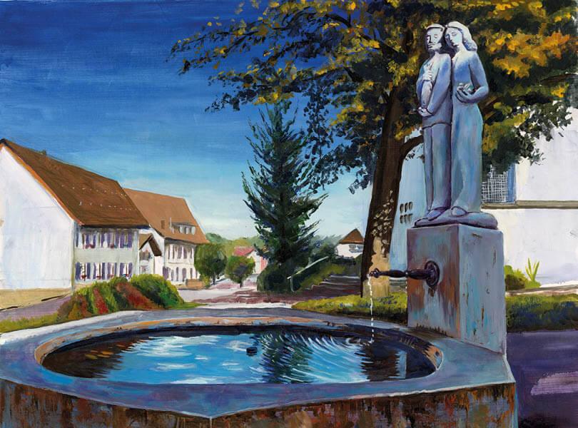 Öl Malerei Leibstadt Statue Brunnen