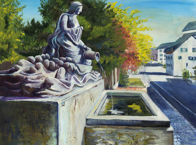Öl Malerei Klingnau Statue Brunnen
