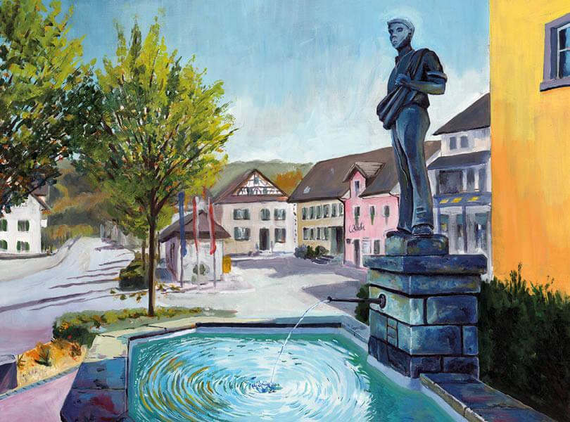 Öl Malerei Endingen Statue