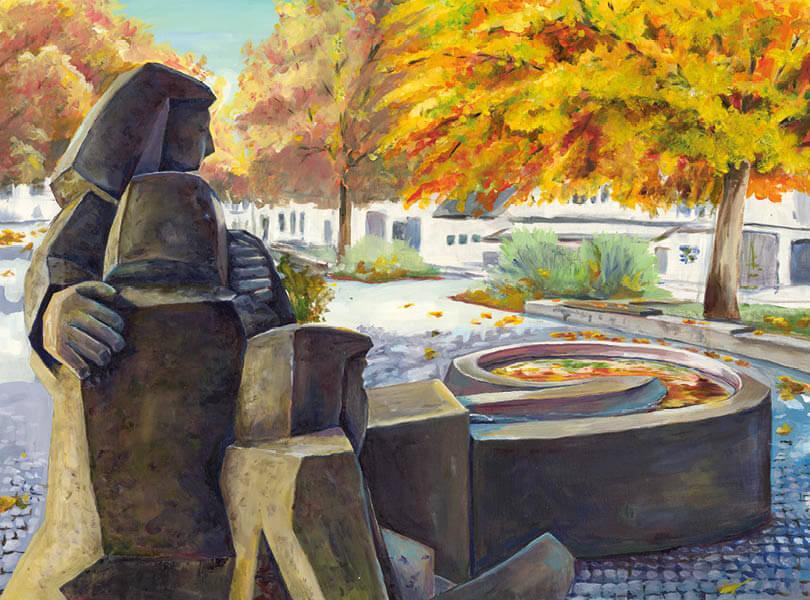 Öl Malerei Bad Zurzach Verenaplatz Statue