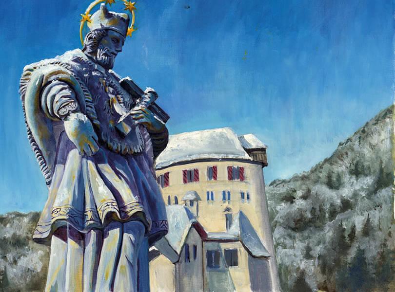 Öl Malerei Kaiserstuhl Statue