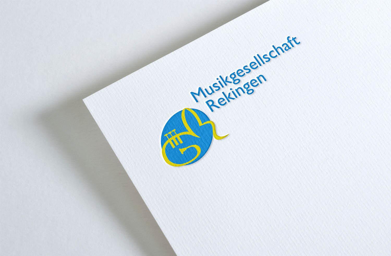 Musikgesellschaft Rekingen Prägung auf Blatt Papier MGR