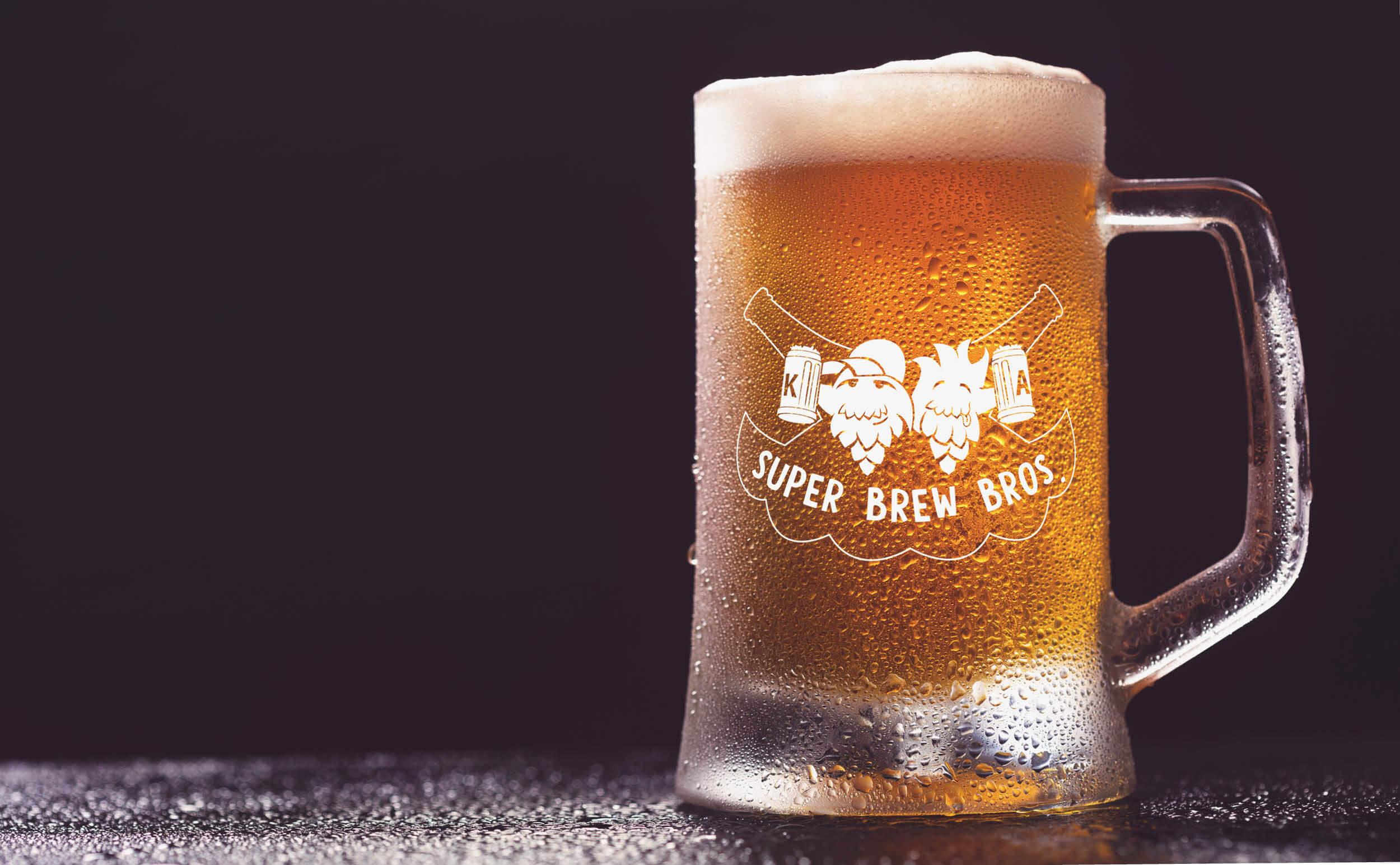 Super Brew Bros bedrucktes Bierglas